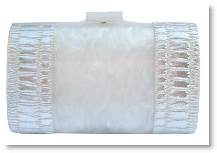 Vintage 50's white marbleized Lucite clutch accented with silver faux croc