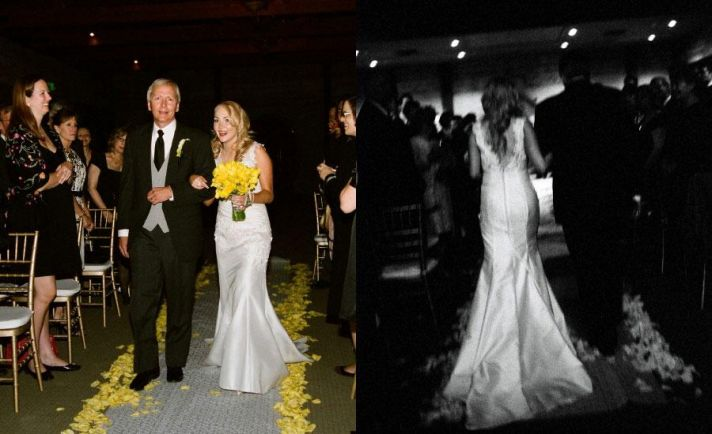 bride in white lace wedding dress walks down aisle with father