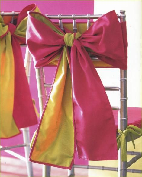 pink and lime duo-tone chair bows are a great DIY detail!