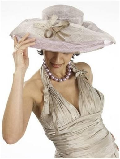 Picture Hat: Champagne and subtle pearl pink hat with champagne-colored bow