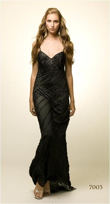 Gorgeous black and grey beaded evening dress from wedding dress designer Alexis Georgio
