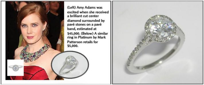 Amy Adam's engagement ring with brilliant cut center diamond