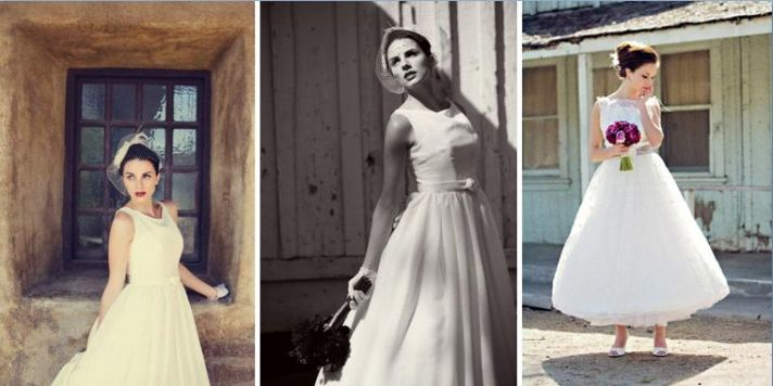 White wedding dress cinched at waist with a belt & white wedding dress with allover silk embroidered