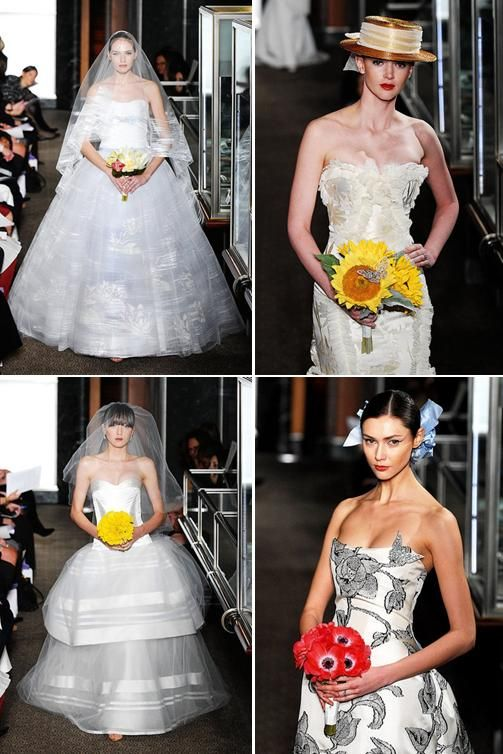 Carolina Herrera brings pops of color to bridal collection with bright flowers