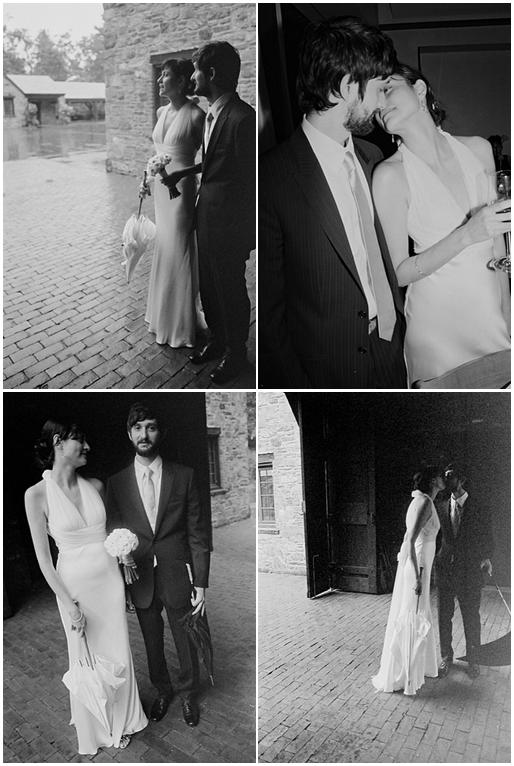 Beautiful bride and groom pose outside in these black and white wedding