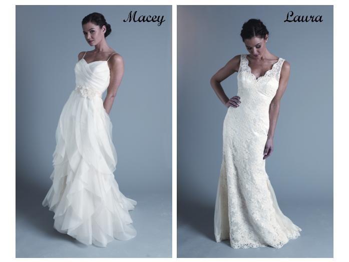 Flowy white wedding dress with ivory sash at waist; white lace simple wedding dress