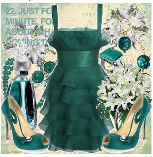 Wear shades of jade to an Autumn evening wedding