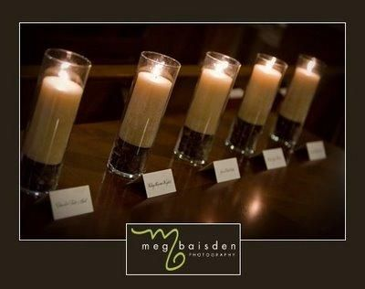 Beautiful candles with names remembering loved ones who have passed