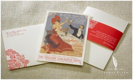 Vintage glam and french boudoire- gorgeous white, red-coral and grey stationery