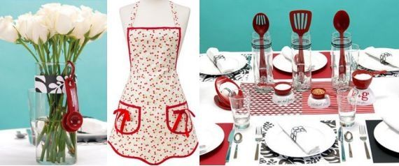 Red, turquoise and white apron for the bride, floral centerpiece, and kitchen utensils