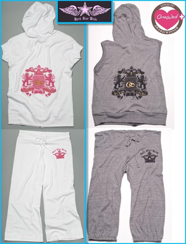 OneWed loves the comfortable, stylish, edgy rock 'n roll hoodies and sweatpants from Rock Star Bride