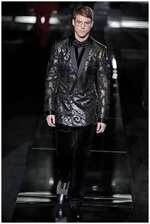 avant garde tuxedo on runway, all black