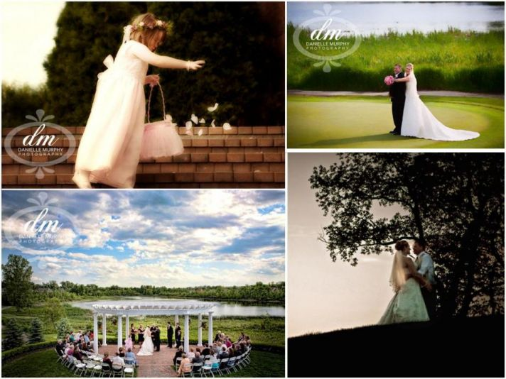 Flower girl sprinkles petals; bride and groom on golf course