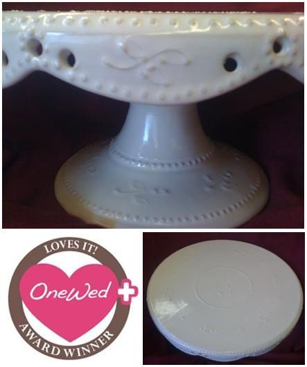 OneWed loves this handmade, one-of-a-kind, antique white, victorian frill, 16 inch wedding cake stan