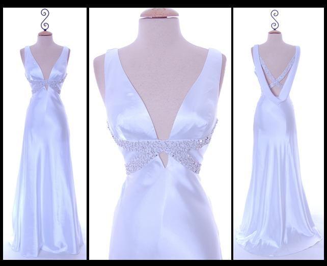 Chic and glamourous satin drape back white wedding dress
