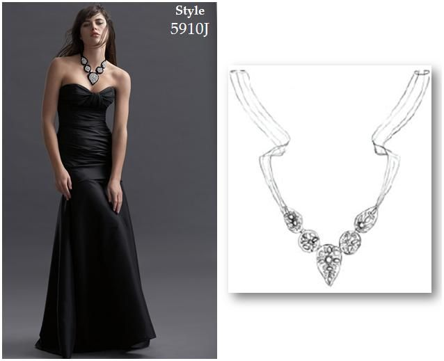 Beautiful black, off-white and rhinestone necklace for bridesmaids