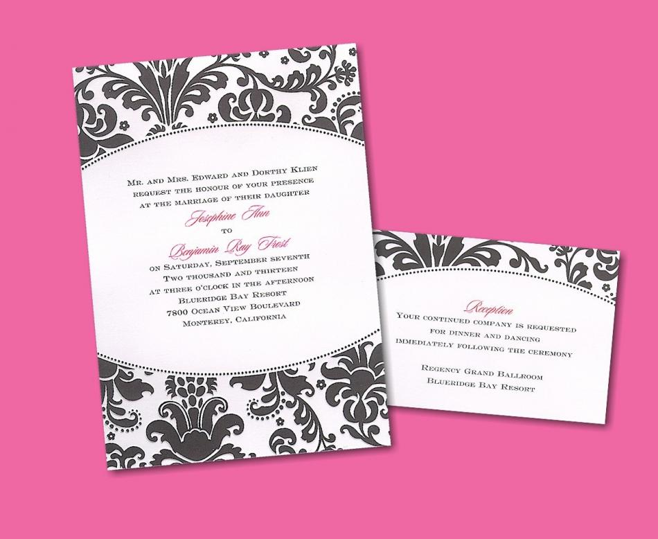 Black and white damask with a pop of hot pink is perfect for an edgy