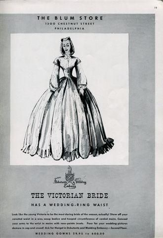Bridal fashion in 1939 Brides Magazine corset wedding dress gives bride