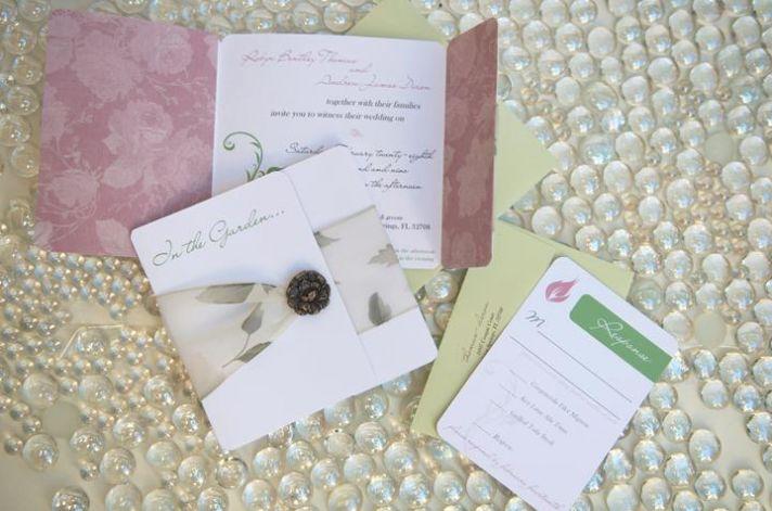 Dusty rose, white, and sage garden theme wedding stationery