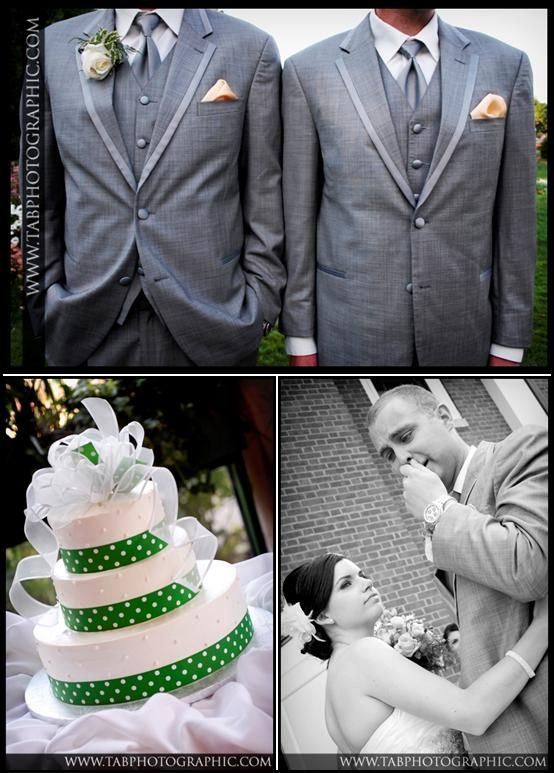 Groomsmen looked stylish in grey suits, with peach pocket square; white and green polka dot wedding