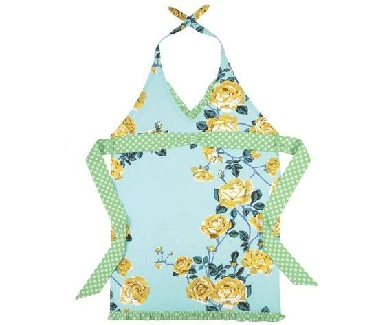 Sky blue aqua teal and creamy gold rose patterned apron Pink sky blue