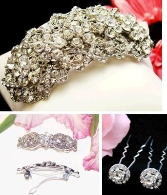 Art deco and vintage inspired hair pins and barrettes for your wedding day- complete your bridal loo