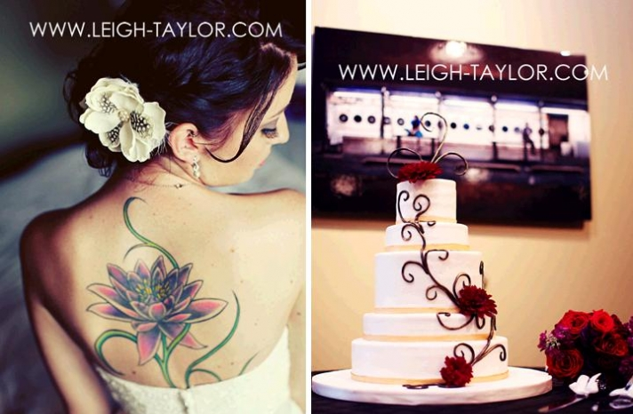 leigh-taylor-rock-n-roll-bride-tattoo-on-back-white-wedding-cake-dark-red-swirls
