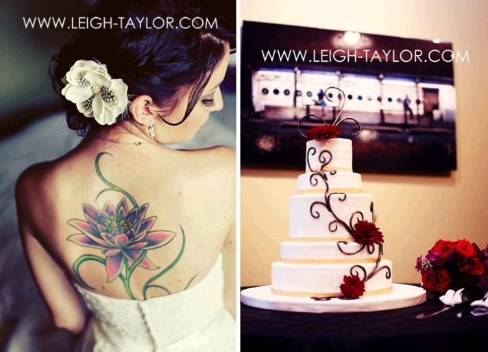 Beautiful rock n roll bride with large flower tattoo on back, white flower in hair, white wedding ca