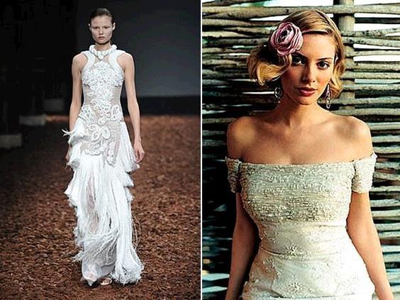 White Givenchy lace wedding dress on runway; Justin Alexander ivory off-the-shoulder wedding dress