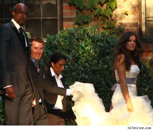 Khloe Kardashian in white strapless Vera Wang wedding dress