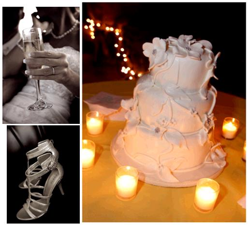 Chic white fondant wedding cake surrounded by tea lights adorned with white