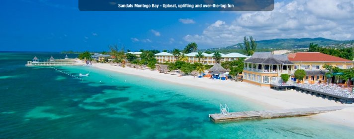 The crystal blue waters of Sandals' resorts make for a perfect romantic honeymoon get-away.