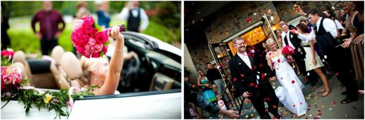 Happy bride and groom become Mr. and Mrs. Walk out of church as guests throw rose petals