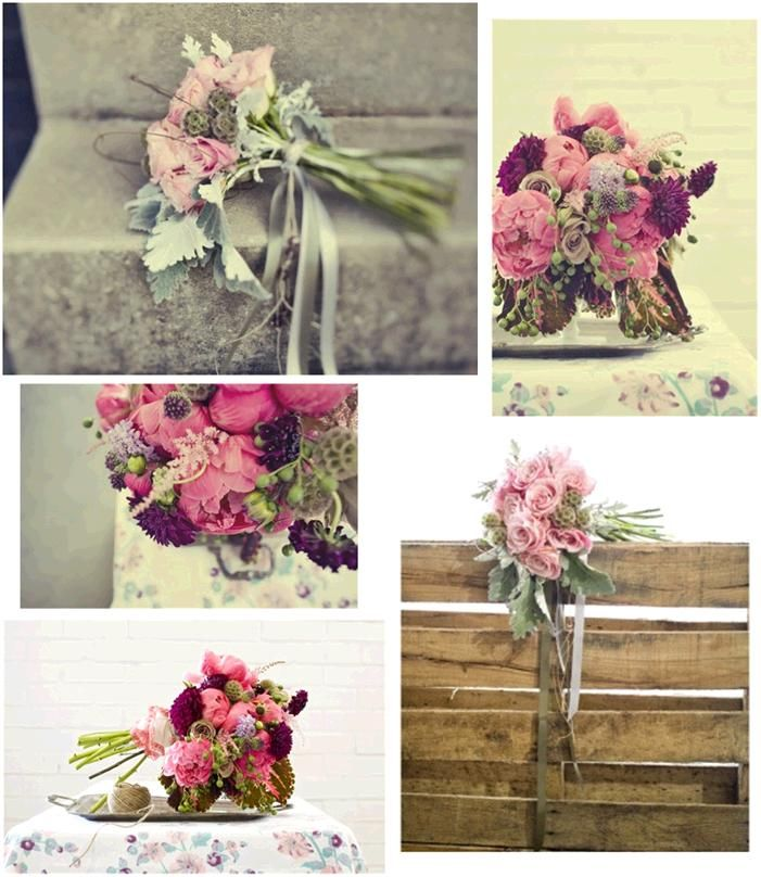 Beautiful whimsical floral arrangements for your wedding- dusty rose, sage, pink and purple