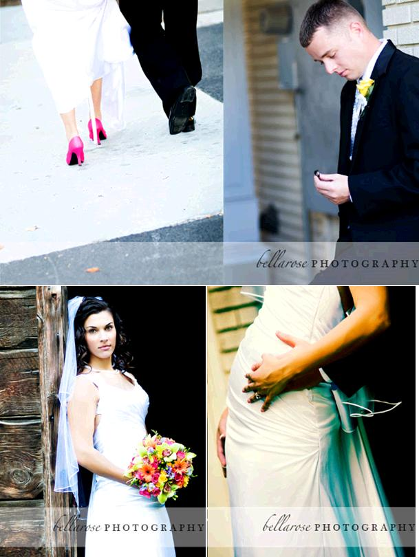 Bride in white wedding dress hot pink heels walks hand in hand with