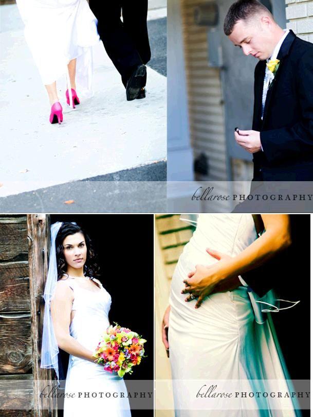 Bride in white wedding dress, hot pink heels, walks hand in hand with handsome groom