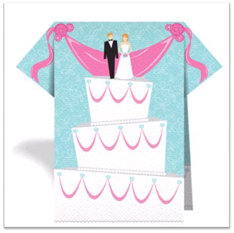 Blue pink and white wedding napkin featuring wedding cake with bride and