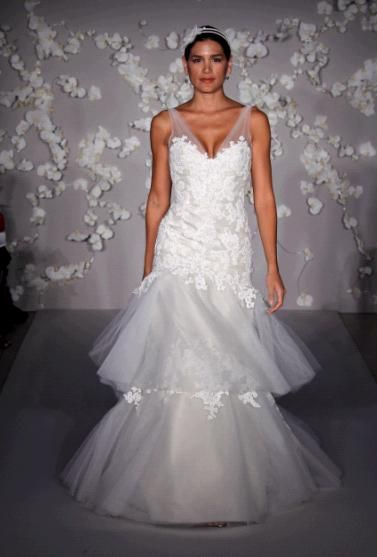 Beautiful white lace wedding dress with two tier drop waist skirt, illusion straps