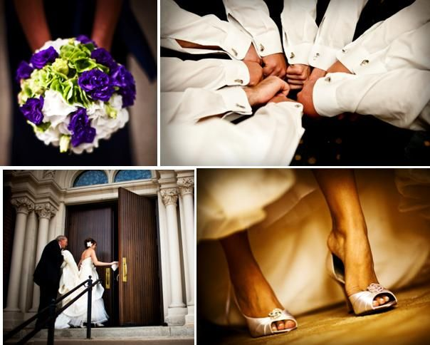 Purple, ivory and green bridal bouquet; bride slips on white peep toe bridal heels