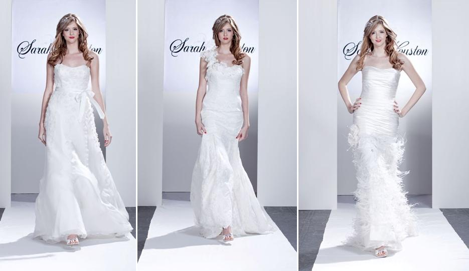 White wedding dresses adorned with floral appliques feathers and satin