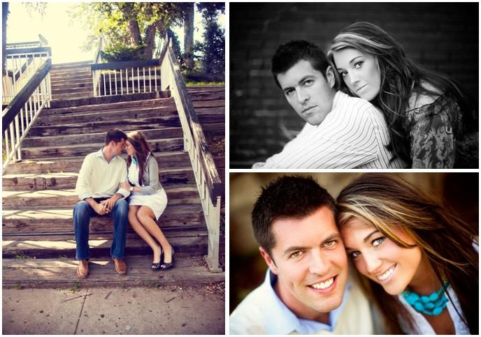 Bride and groom sit on steps outside; bride-to-be in white shirt, chunky turquoise necklace and gold