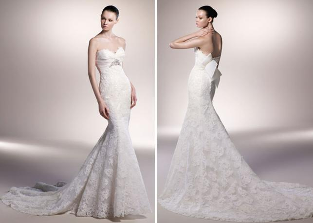 Beautiful ivory lace mermaid wedding dress with sweetheart neckline and