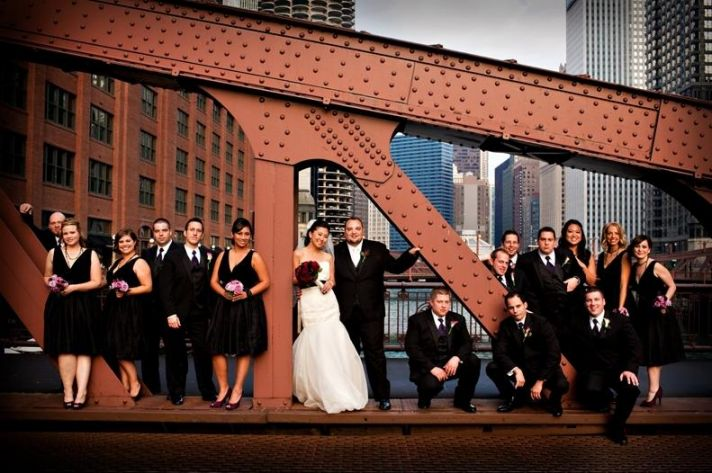 Bridge in Chicago's Loop- bride, groom and bridal party pose