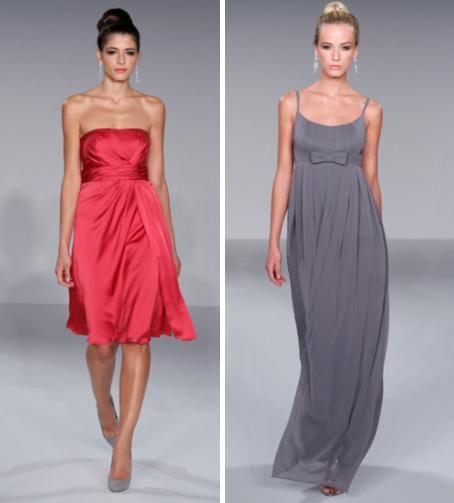 Strapless knee-length dark pink bridesmaids dress; full-length pewter grey bridesmaids dress with sk