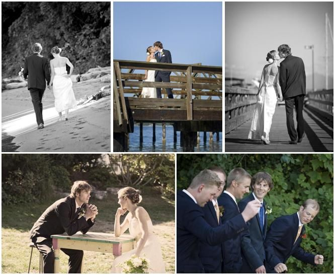 Bride and groom walk hand in hand on the beach, kiss on the dock