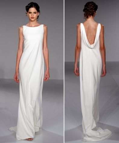 Sheath style white wedding dress with high boat neck and draped cowl back