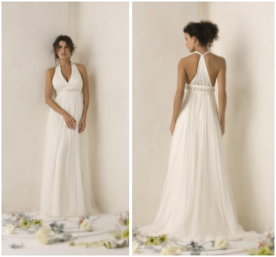 White grecianinspired wedding dress with halter top and tback