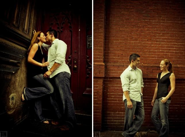 Newly engaged couple gets frisky in front of a red brick backdrop in Baltimore