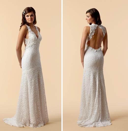 Vneck cotton crochet lace sheath style wedding dress with beautiful open