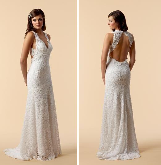 V-neck cotton crochet lace sheath style wedding dress with beautiful open back